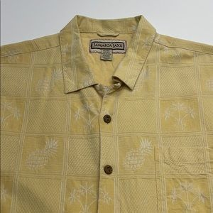 JAMAICA JAXX Yellow Silk Hawaiian Pineapple Shirt